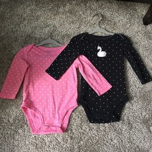 Set of 2, 9 mnth girls carters long sleeve onesies